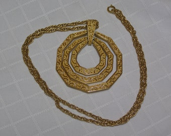 Crown Trifari Egyptian Revival Triple Nested embossed gold tone pendants necklace