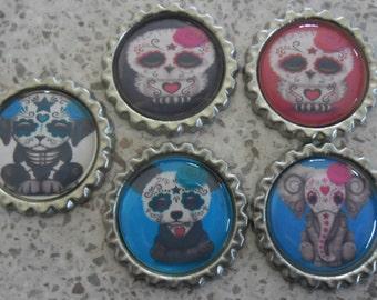 5 x Animal Sugar Skulls Inspired Flattened Silver Bottle Caps - Great for Jewellery, Cards, Keyrings