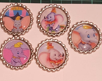 5 x Dumbo Inspired Flattened Silver Bottle Caps - Great for Jewellery, Cards, Keyrings