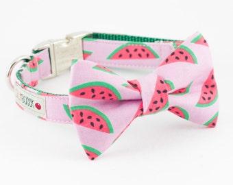 Watermelon Bowtie Dog Collar