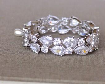 Crystal Bridal Teardrop Bracelet, Chunky Crystal Bracelet, Crystal Wedding Cuff,  TESSA S