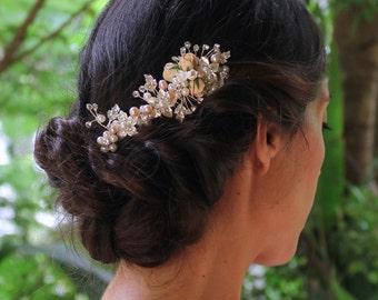 Silver Hair Comb, Blush Flower Hair Comb, Pearl Bridal Haircomb, Silver Bridal Hair Clip, FAITH