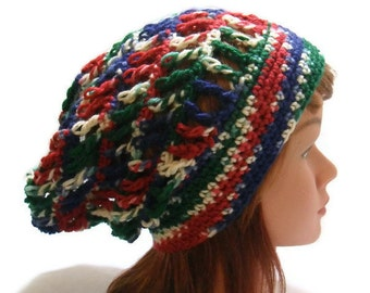 Mesh Slouchy Hat, Festival Hat, Slouchy Summer Hat, Beach Hat, Open Stitch Hat, Womens Crochet Hat, Blue Red Green White, Crochet Ombre Hat