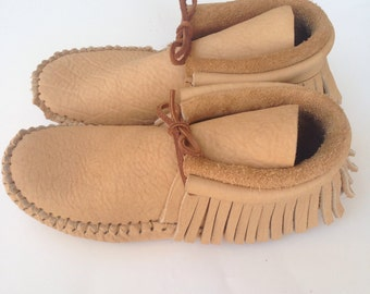 Adult Tan Leather Fringe Moccasins