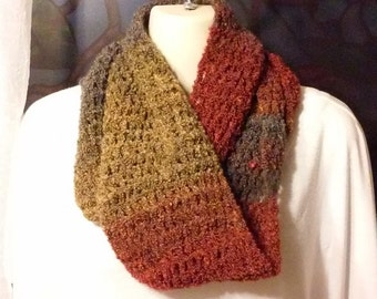 Crocheted Infinity Scarf - Rust, Gold and Gray