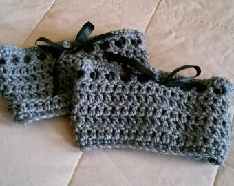 Gray Crochet Boot Cuff With Black Ribbon