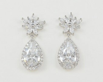 Bridal Earrings, Wedding Jewelry, Teardrop Zirconia Earrings, Joyce - Ships in 1-3 Business Days