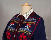 Embroidered Wool cardigan Hand knit navy blue sweater Fair isle