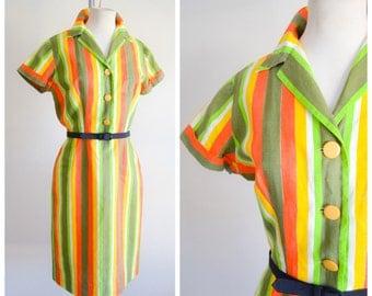 1950s 60s Bright stripe cotton shirtwaister / 50s straight skirt day dress - S