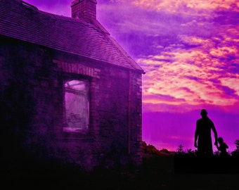 Stranger at Night Horror Print Photo 6 x 4 6x4 Goth Halloween Child Snatcher Spooky House Abandoned home Derelict building purple sky
