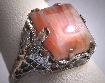 Antique Banded Agate Ring Art Deco Victorian Filigree Vintage 1920