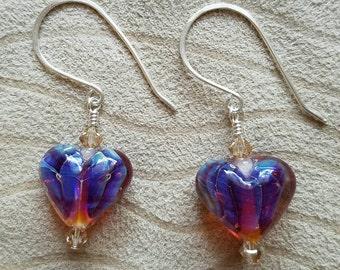 Purple Shimmer Heart Earrings