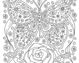 Butterfly Coloring Page Adult Book Digital Instant Download Design