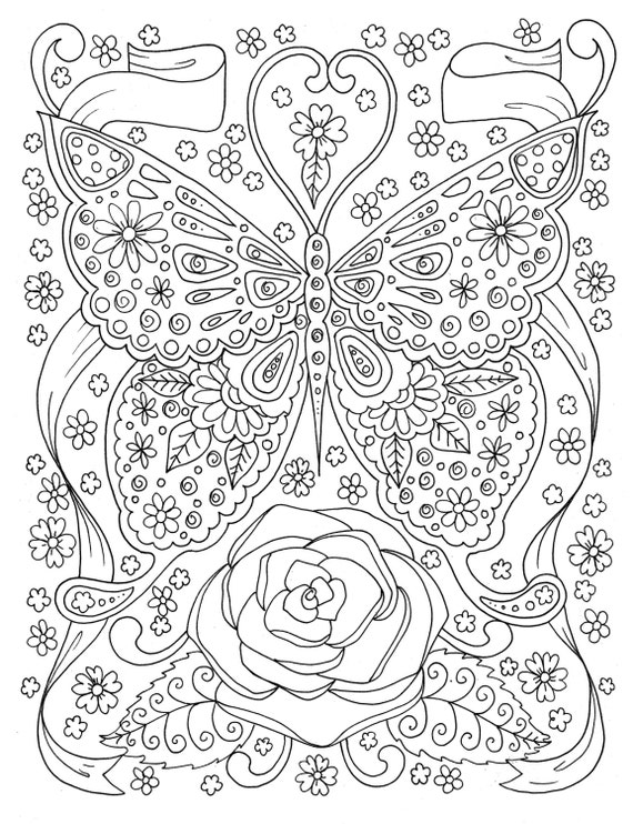 Digital Coloring Book Download : Butterfly Coloring page Adult Coloring Book Digital Coloring