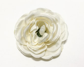One Jumbo Ivory Silk Ranunculus - 4 Inches - Artificial Flower