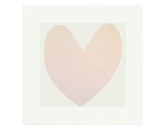 Love Heart screenprint, pink with orange polka dots on Italian handmade paper by Emma Lawrenson