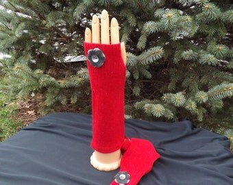 Ladies Red Cashmere Fingerless Gloves / Arm Warmers Made From  A Recycled Sweater