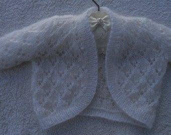 Baby/Girl's cardigan/bolero/shrug, hand knitted in white soft fluffy yarn, sizes 0-6 months ( 18 in chest), suit Baptism or wedding