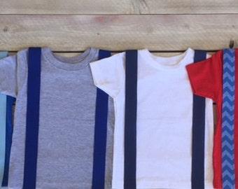 Blue/Navy Iron On Suspenders Applique Chevron, Infant, Kid, Adult