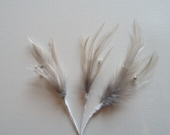 3 x Grey Feather Sprig With 3 diamantes