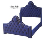 French Tufted Bed Velvet Royal Blue Queen King Full Twin Size Any Fabric Extra Tall Nail Head Trim BY CUSTOM ORDER
