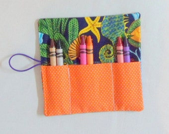 Crayon Roll Up , Party Favors for Girls and Boys Fish Fabric Crayon Wallets 6 Crayons in Each Rollup