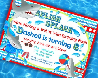 Shark Party Invitation - Pool Party Invitation - Shark Party - Gwynn Wasson Designs