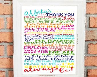 DIGITAL FILE - Teacher Gift  - Teacher Thank You - Teacher Appreciation - A Mother's Thank You to Teacher - Print in 8x10, 11x14 or 16x20