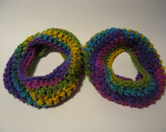 ToddlerChild Cowl Scarf in Purple/Pink/Yellow/Green