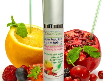 SUPER FRUITS Face Whip - Alpha Hydroxy Acid WRINKLE Cream - Organic -  All Natural - Antioxidant - Anti-aging - 1.7 oz.