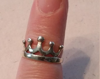 Vintage Sterling Silver 925 Band Toe Ring Ladies 1990s Accessory Crown