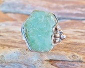Rough Emerald Ring. Handmade Ring. Emerald And Sterling Silver Ring. Adjustable Ring. Raw Emerald Ring. Rough Stone. Emerald Properties.