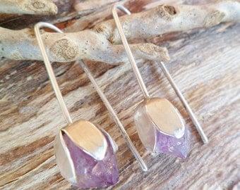 Amethyst Earrings. Tulip Earrings. Amethyst And Sterling Silver Earrings. Amethyst Tulip. Dangle. Handmade Earrings. Amethyst point Earrings