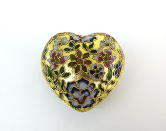 Heart Shaped Trinket Box / Gilt Champleve Cloisonne Dish / Blue Enamel Interior