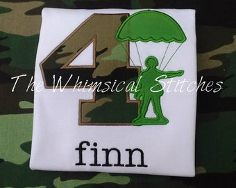 Boy's Birthday Army Marines Military Camoflague Shirt Army Man Personalized Monogrammed 1-9
