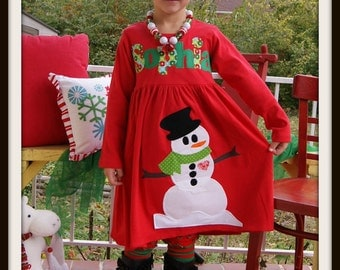 Snowman Dress with Name - Personalized Red Snowman Dress - Infant Toddler Youth Girls - You Choose Dress Color