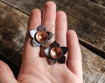 copper flower earrings, flower earrings, copper and silver earrings, floral earrings, nature earrings