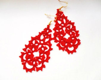 Handmade tatted red earrings made of cotton thread and  beads, lace  tatted earrings