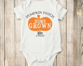 Home grown, pumpkin, onesie, bodysuit, shirt, children, baby, fall, clothing