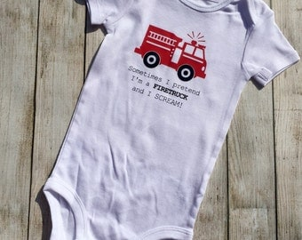 Firetruck, onesie,  bodysuit, children clothing, baby, tops,shirt