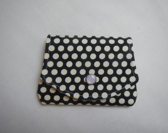 Credit card wallet in black with white dots, wallet, organizer