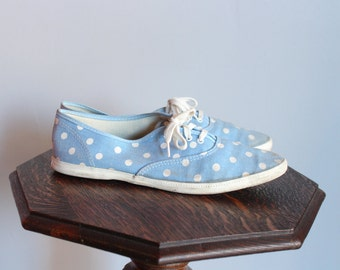 1960s Shoes // Jeepers Polka Dot Sneakers // vintage 60s shoes // 8M