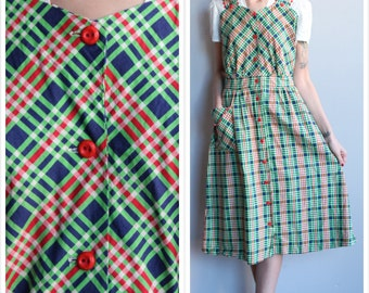 1940s Dress // Princess Peggy Plaid Dress // vintage 40s dress
