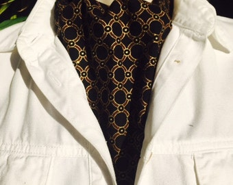 Ascot Tie Cravat. Tiny gold stars on a black background.  100% cotton.  New