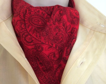 Ascot Tie Cravat. Paisley design in black on red. 100% Cotton   NEW