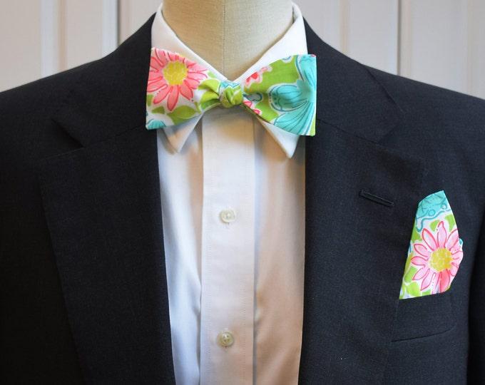 Men's Pocket Square & Bow Tie in green Hidden Garden, wedding party wear, groomsmen gift, groom bow tie set, men's gift set, Lilly menswear