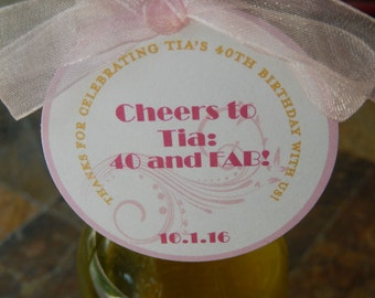 "Thank You Custom 2"" Mini Wine or Champagne Bottle Favor Tags - 40 and FAB! - Birthday Favor Tags - Personalized Printed Tags and Stickers"