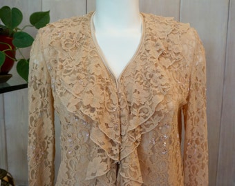 Vt. ANAGE Beige Lace Blouse with Ruffles - SIze S