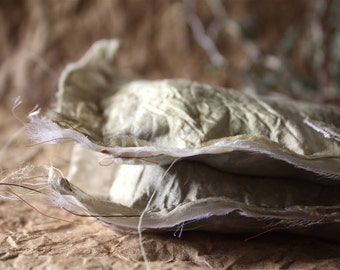 """Two Rosemary Sachets / Dried Rosemary Mingled with Delicate Threads / Eco-Dyed Silk Prepared with Natural Plant Materials / 6"""" x 6"""""""