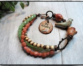 Brighten up your day with this playful and fun bracelet! Happy Fun Pottery Cuff Beaded Bracelet    rustic earthy charming